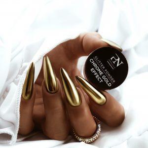 Złoty pyłek do stylizacji paznokci ProNails Chrome Gold Effect.